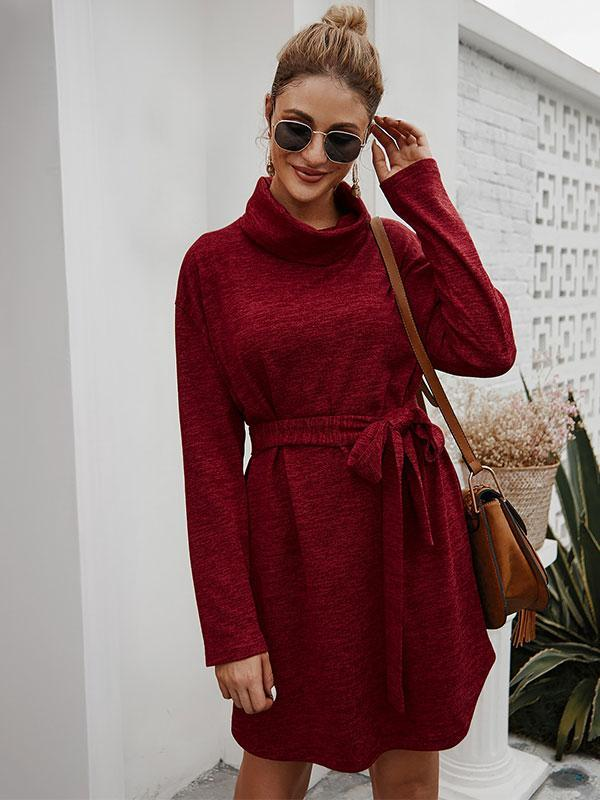 Fashion Long Sleeve Lace-up Pure color Mini Casual Dress