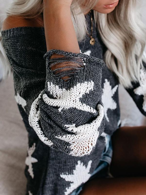 Fashion Long Sleeved Five-pointed Star Sweater For Autumn