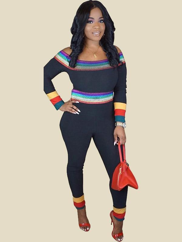 Fashion Off Shoulder Rainbow Striped Long Sleeve Jumpsuit For Women