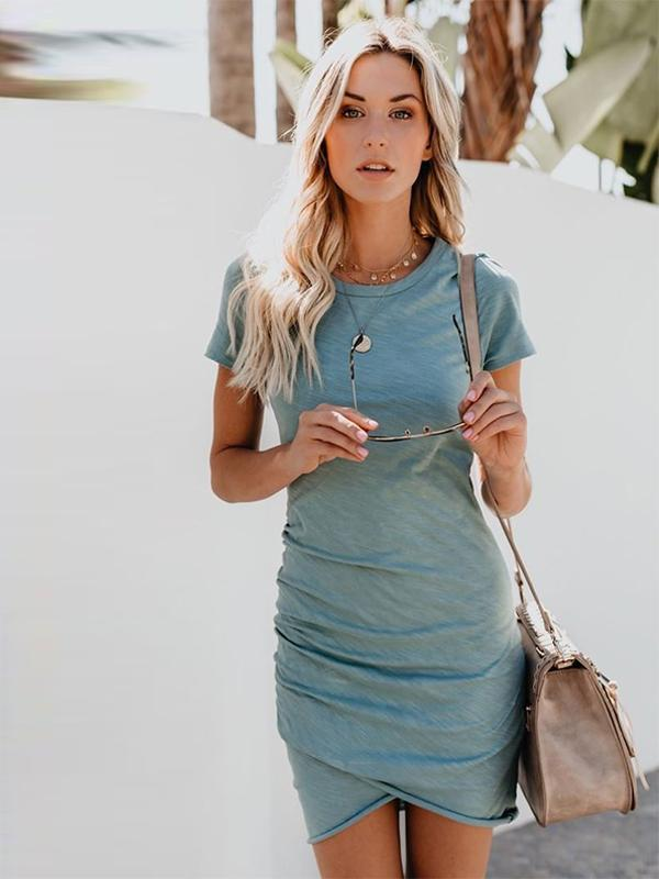 Fashion Round Neck Short Sleeve Solid Color Pencil Dress For Women