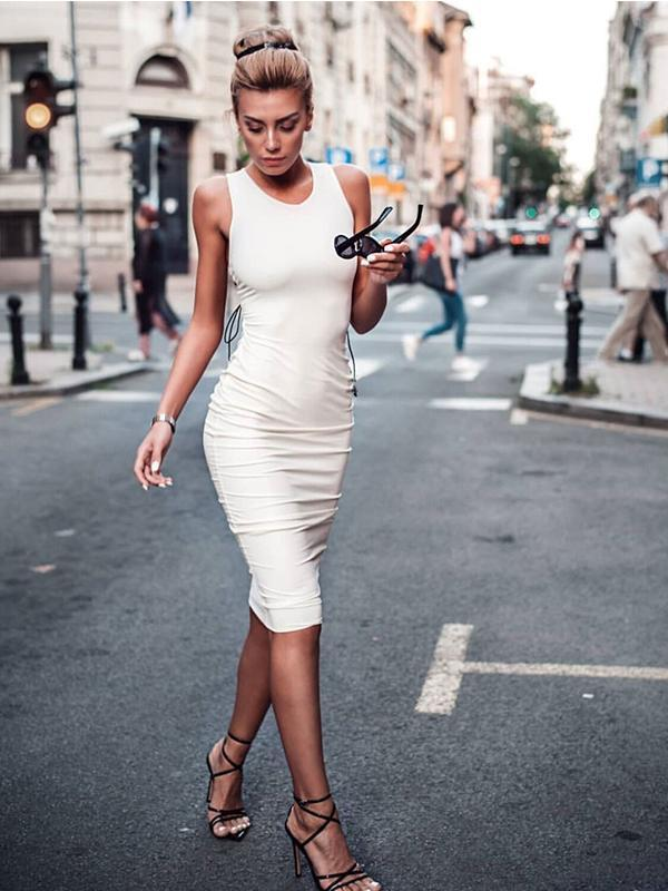 Fashion Sexy Crew Neck Sleeveless Straps Ruched Dress For Women