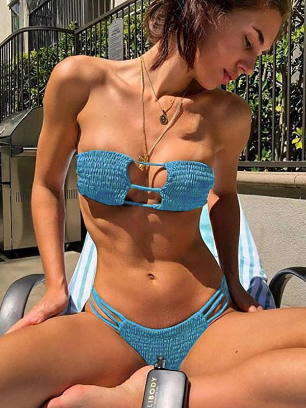 Fashion Sexy Swimsuits Solid Color Bikini Swimwear