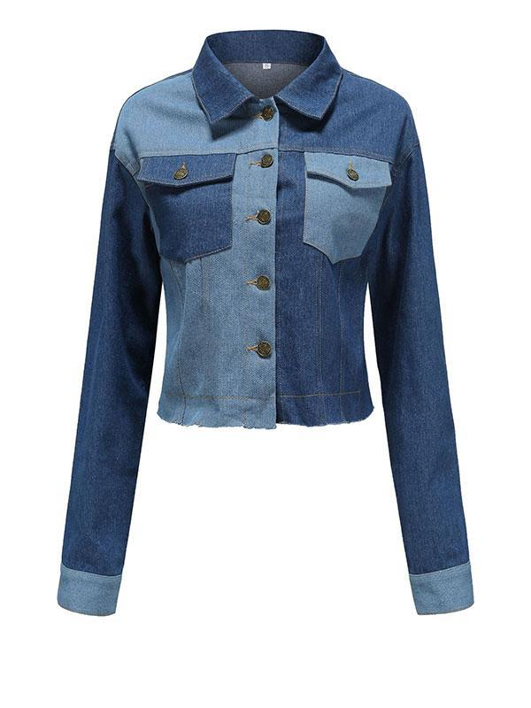 Fashion Short Colorblock Long-sleeved Denim Jacket Top