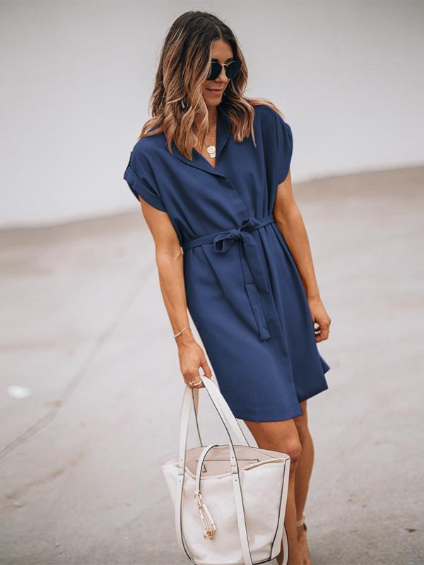 Fashion Solid Color Short Sleeve Loose Lace-up Dress