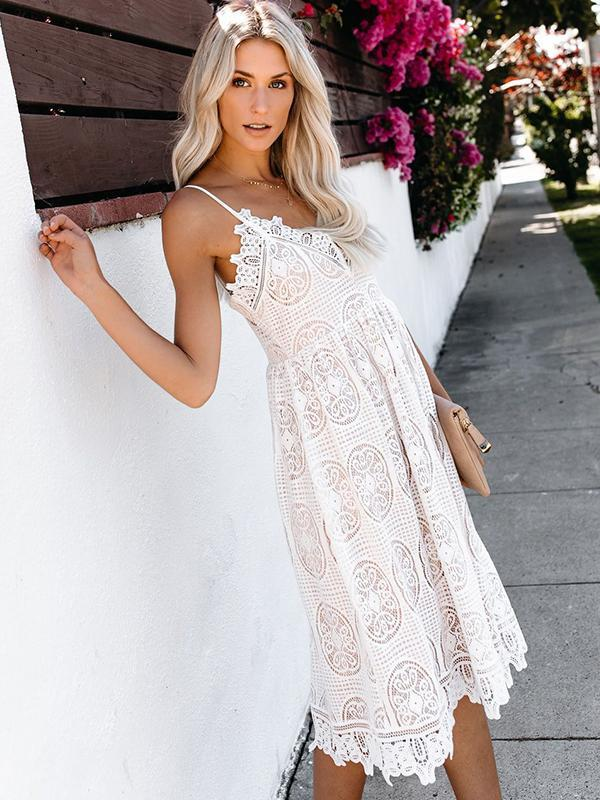 Fashion Temperament Lace Sleeveless V-neck Princess Dress