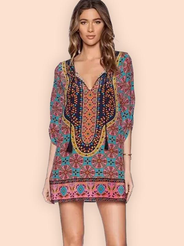Fashion V-neck Print Pullover Mini Women Dress