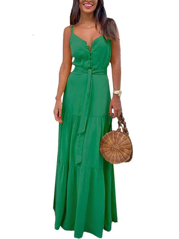 Fashion Women Casual V-neck Pure Color Maxi Dress