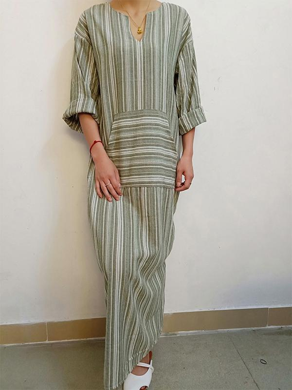 Fashion Women Cotton and Linen Stripe V-neck Maxi Dress