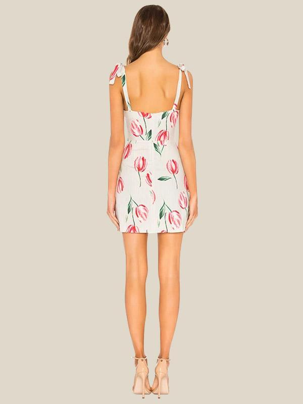 Fashion Women Floral Print Sexy Sling bodycon Dress