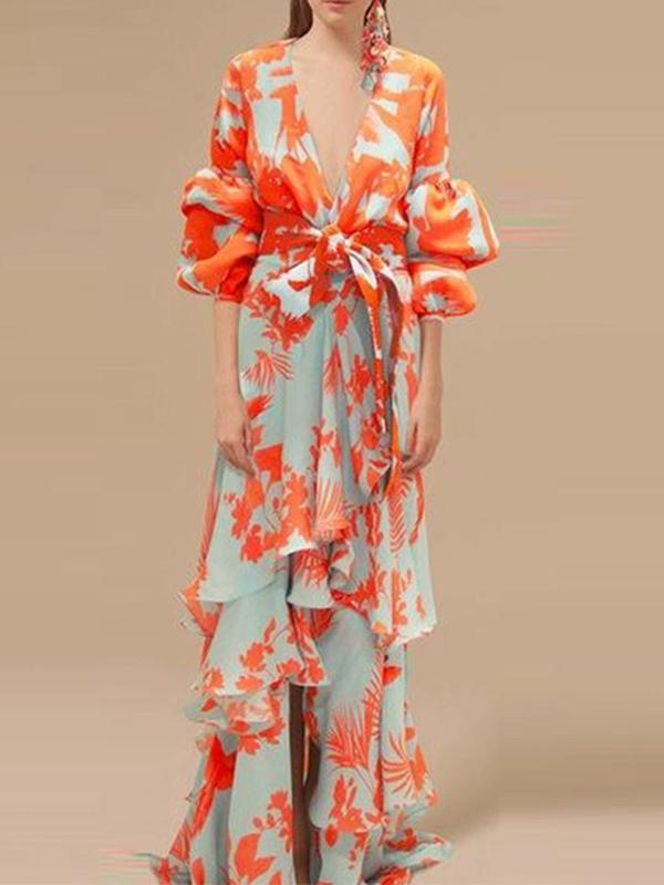 Fashion Women Sexy Deep V-neck Lantern Sleeve Print Dress