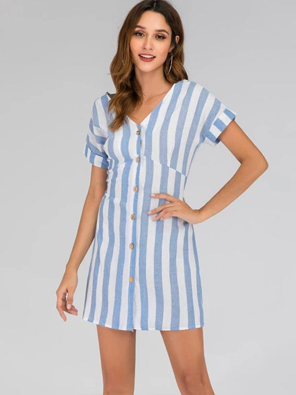 Fashion Women Stripe Button Bow-knot V-neck Dress