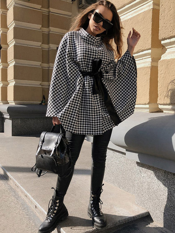 Woolen Female Elegant Poncho and Capes Coat Women  Winter Loose Street Short plaid Overcoat