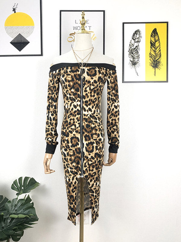 Sexy Leopard Print Black off-the-Shoulder Zipper Front Slit Slim Long Sleeve Bodycon Dress