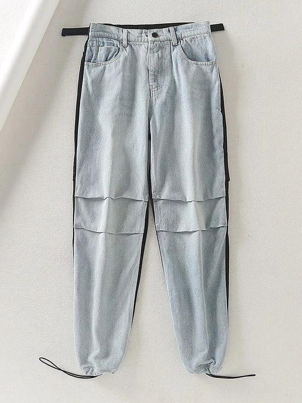 Female Casual Loose Dnim Color Block Trousers
