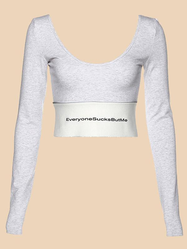 Female Printed Letter Crop Top