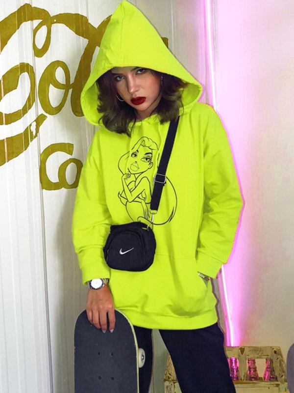 Female Printed Long Sleeve Hooded Sweatshirts