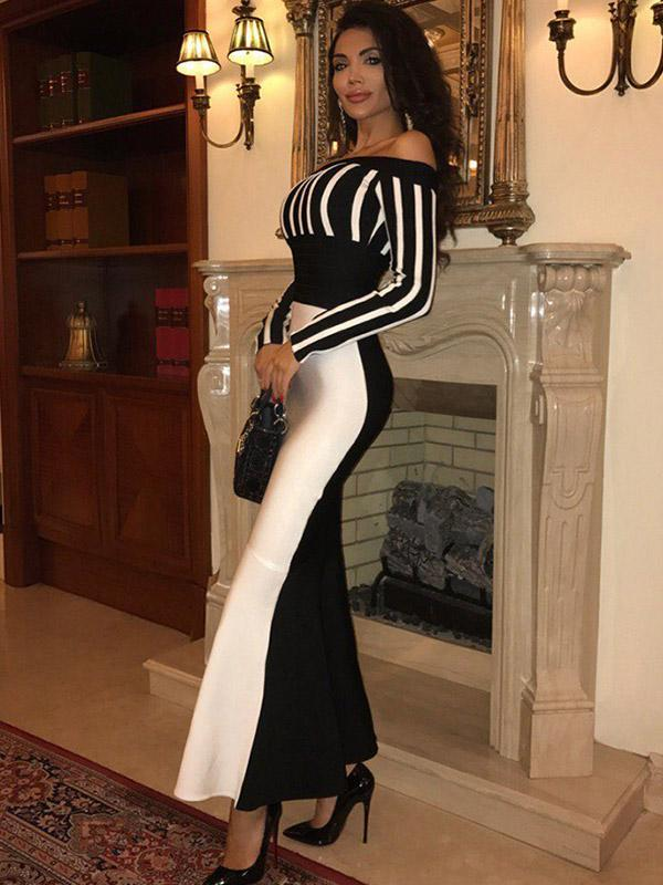 Female Sexy Off Shoulder Striped Maxi Dress