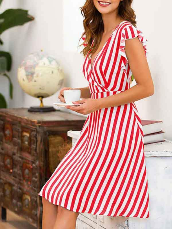Female Sexy V-neck Stripe Flying Sleeve Sleeve Dress