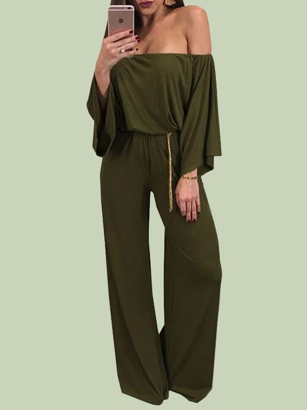 Female Solid Color Off Shouider Jumpsuits