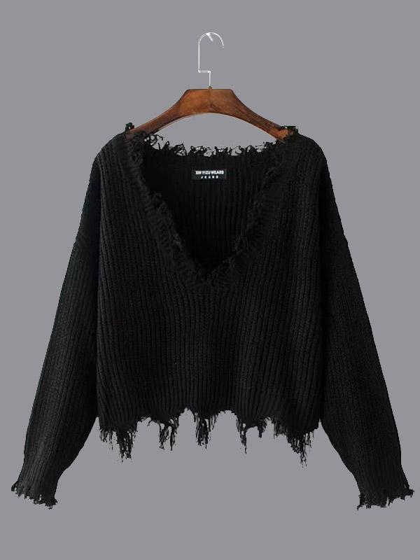Female V-neck Solid color Tassel Sweater