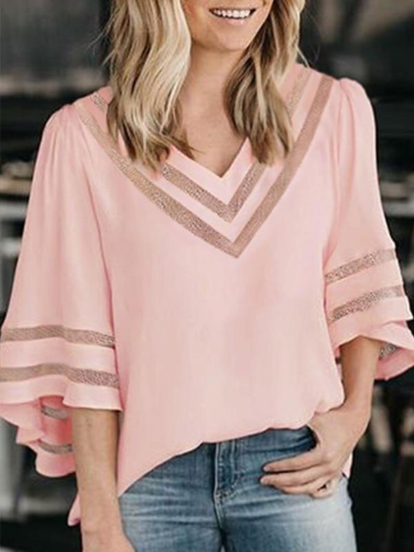 Flare Sleeve Patchwork Solid Blouse
