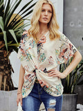 Floral Printed Loose Twist Blouse