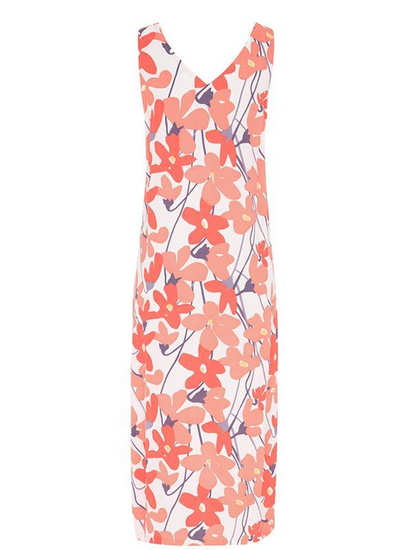 Fsahion Sleeveless V-neck Floral Print Women Maxi Dress