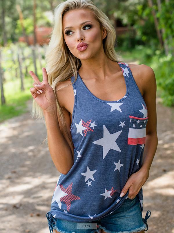 Independence Day Printed Blue Tank Top