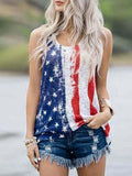 Independence Day Printed Patchwork Casual Tank Top