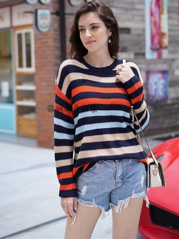 Knitwear Striped Round Neck Pullover Loose Long Sleeve Fashion Sweater