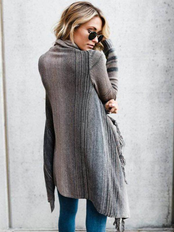 Ladies Casual Fringed Striped Sweater