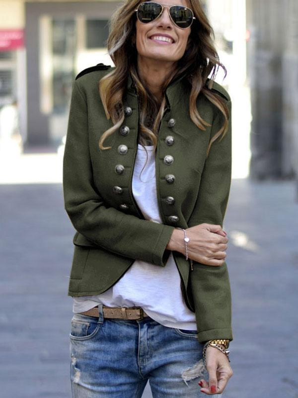 Ladies Fashion Solid Color Long Sleeve Coat