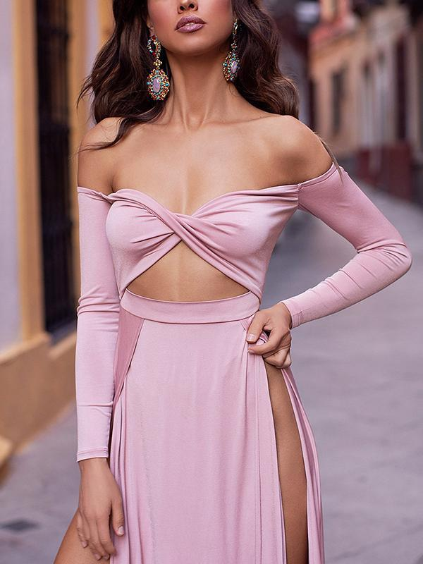 Ladies fashion tube solid color Long dress