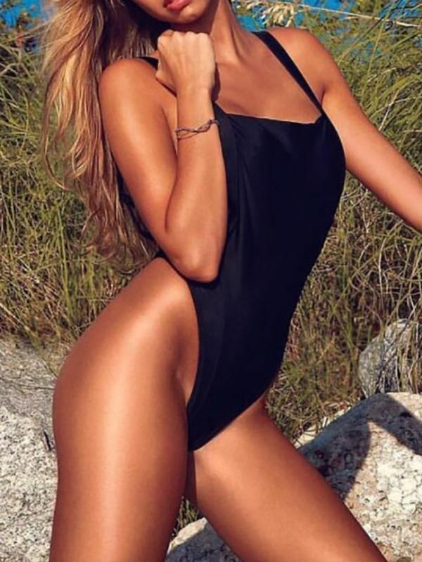 Ladies Summer Solid One Piece Swimsuit