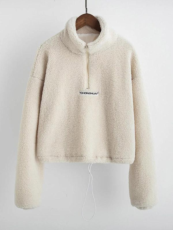 Lamb fur collar half-zip drawstring coat