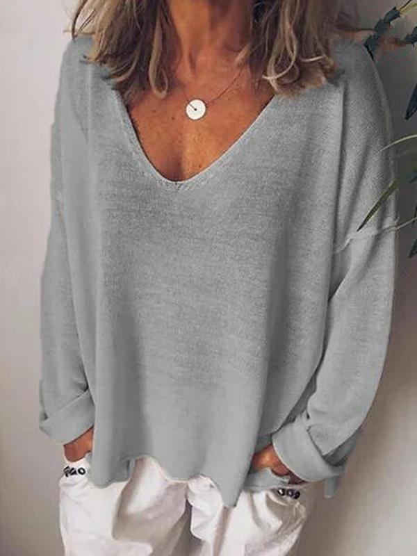 Long Long Sleeve V-neck Shirts
