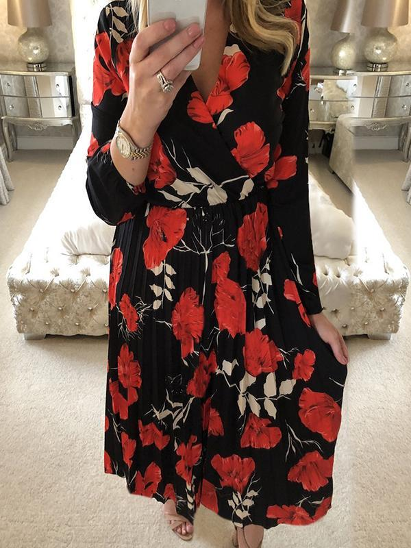 long sleeve casual floral dresses