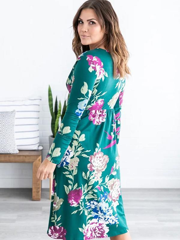 Long sleeve floral casual dresses