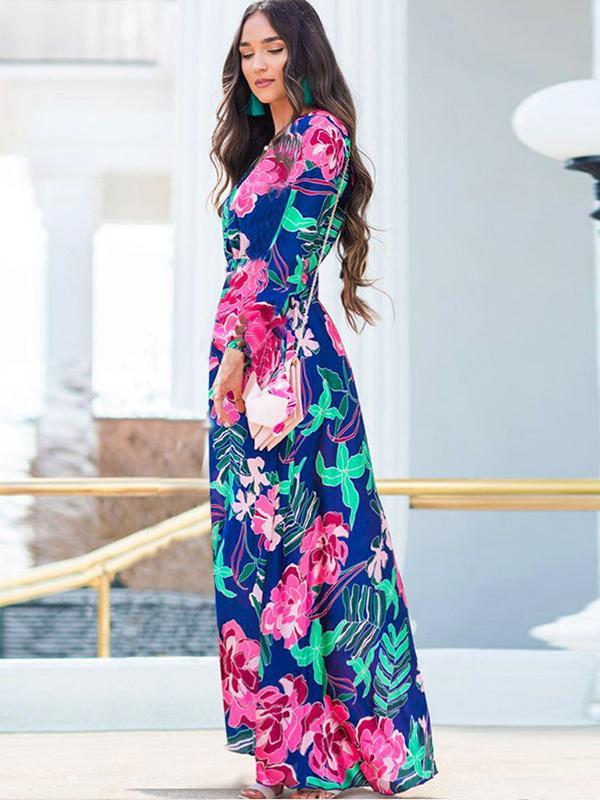 long sleeve floral maxi dresses