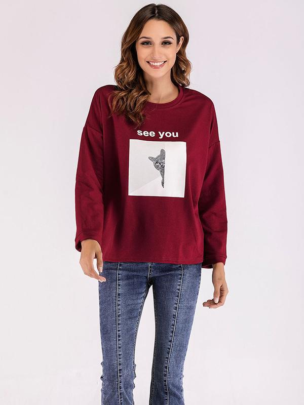 long sleeve letter print sweatshirt