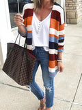 Long Sleeve Mid Length color block cardigan Sweater
