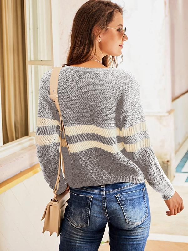 long sleeve striped pullover sweaters