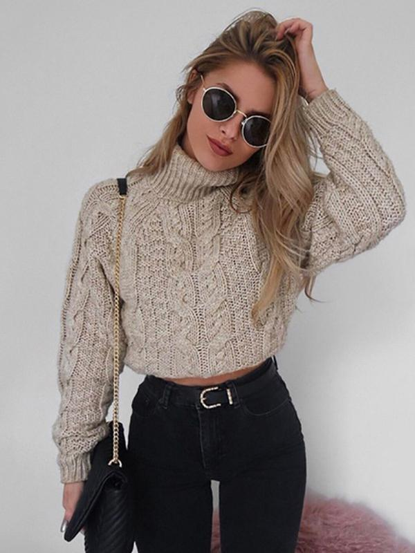 long sleeve Turtleneck cable knit Sweater sexy Crop Top