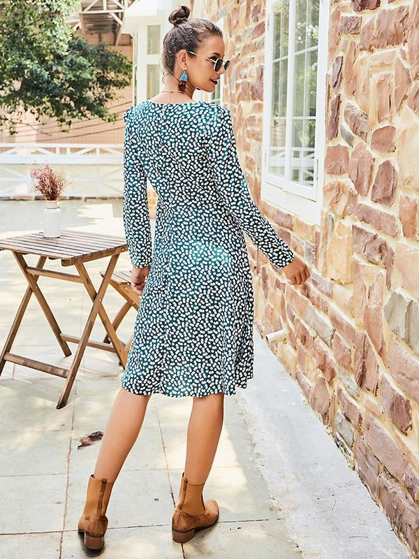 Long sleeve V neck floral midi dress