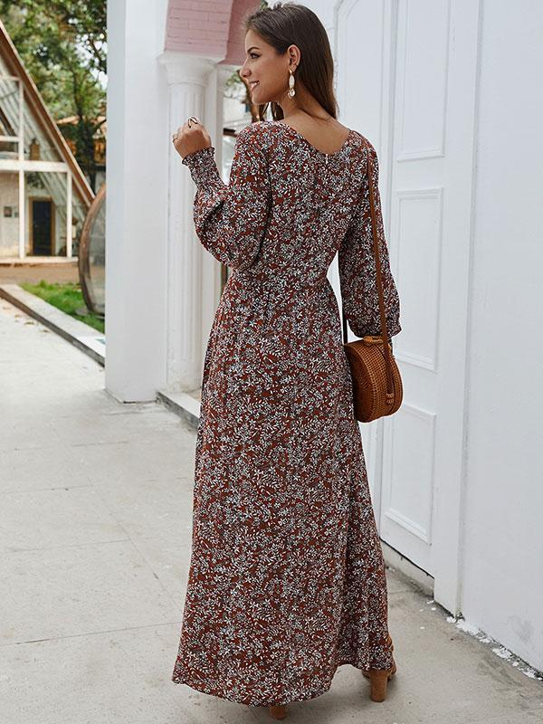Long Sleeve V-neck Floral Print Dress