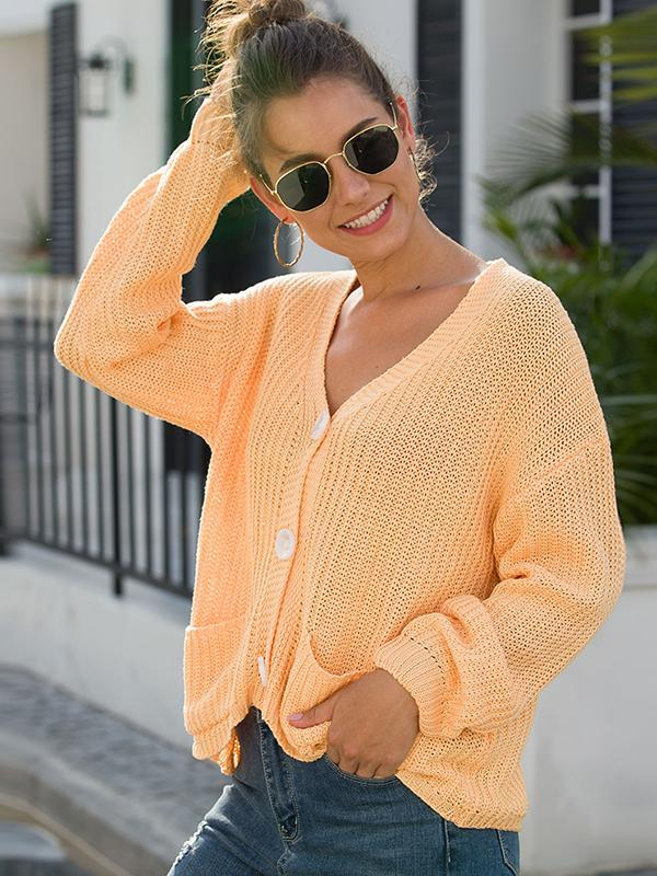 long sleeve v neck solid cardigan sweater