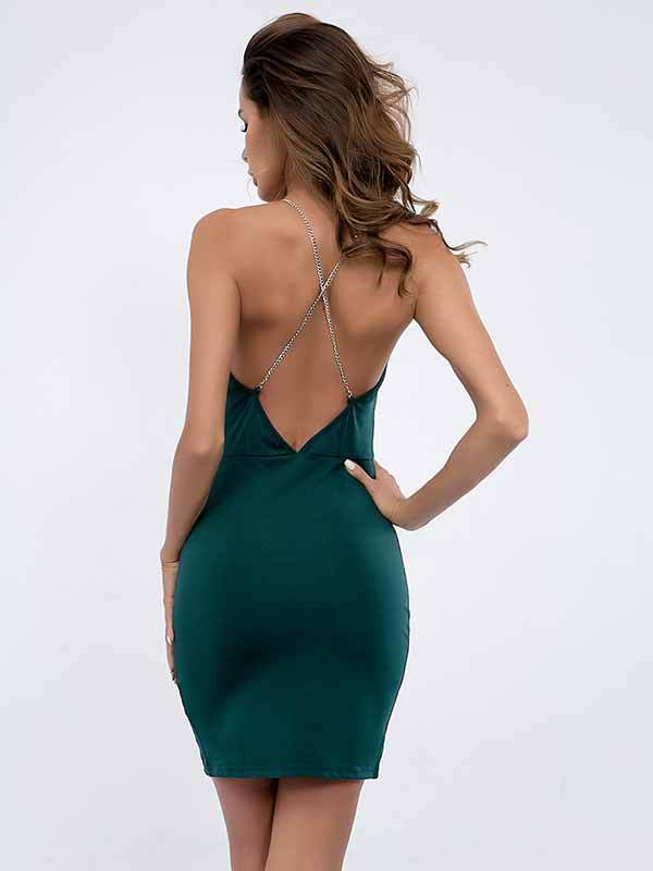 Metal Chain Wrapped Chest High Waist Split Strap Dress Female
