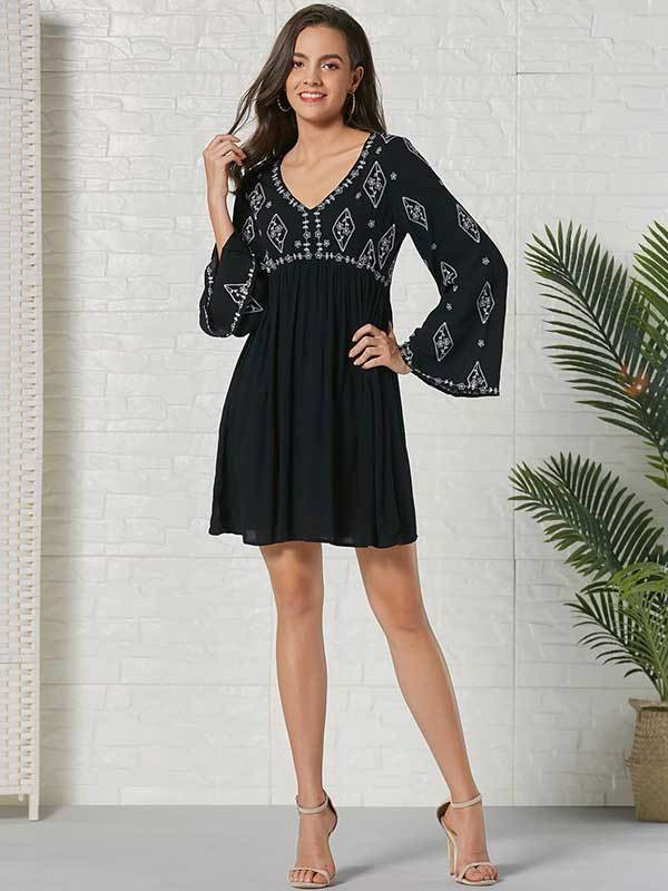 New Bohemian Embroidered Long Sleeve Panel Cutout Mini Dress