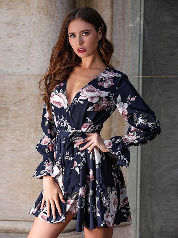 New Deep V-neck Long Sleeve Lace-up Floral Print Mini Women Dress