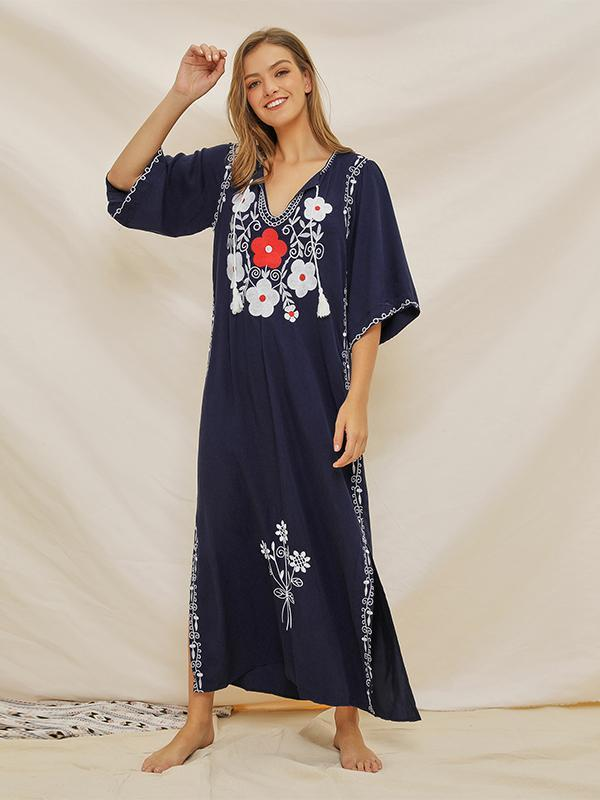 New Embroidered Stitching Casual Half Sleeve Women Bohemian Dress